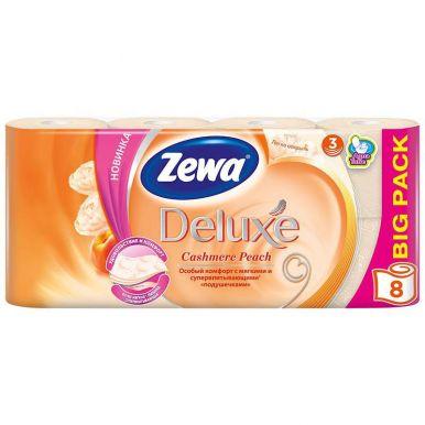 ZEWA DELUXE туалетная бумага 3-х слойная 8шт аромат.персик