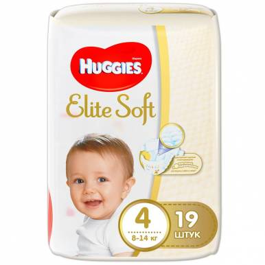 HUGGIES Elite Soft (4) подгузники 8-14кг 19шт