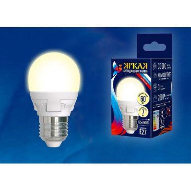 Лампа Uniel Яркая, светодиодная LED-G45 7W/WW/E27/FR PLP01WН Форма «шар», матовая, теплый белый свет