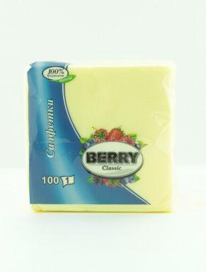BERRY салфетки 24x24 см, 100 шт 1 слойные, белые