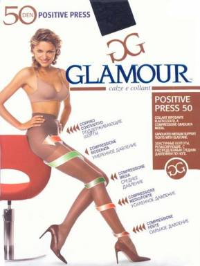Glamour колготки POSITIVE PRESS 50 р. XL цвет NERO
