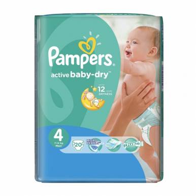 PAMPERS подгузники Active Baby 4 MAXI 20шт (7-14кг) Стандартная упаковка
