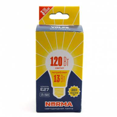 Лампа светодиодная NORMA серия VOLPE  LED-A60-13W/WW/E27/FR/NR картон