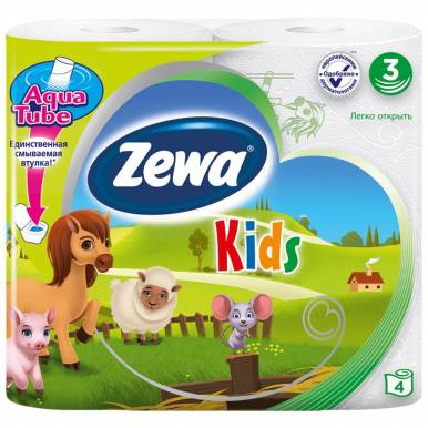 ZEWA KIDS туалетная бумага 3-х слойная 4шт