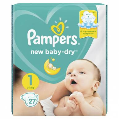Pampers подгузники Baby 1 BORN, 27 шт (2-5кг) Стандартная упаковка