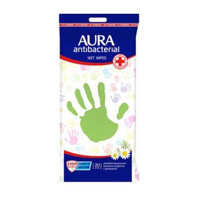 Aura влажные салфетки антибактериальные с Еврохолом, 20 шт