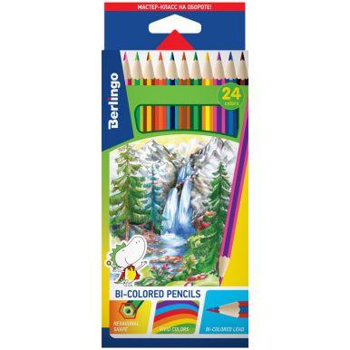"""Карандаши с двухцветным грифелем Berlingo """"Водопад"""", 12шт., 24цв."""