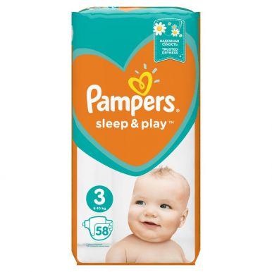 Pampers 3 подгузники Sleep & Play Midi, 58 шт (4-9кг) Экономичная упаковка