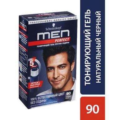 Men Perfect Краска для волос, 90 натуральный Черный, тонирующий гель против седины, 80 мл