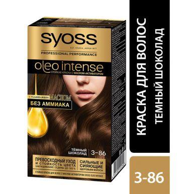Syoss Стойкая краска для волос Oleo Intense, 3-86 Темный шоколад, с ухаживающим маслом без амиака, 115 мл