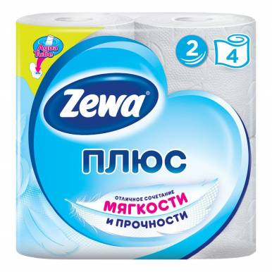 ZEWA ПЛЮС туалетная бумага 2сл. 4шт белая