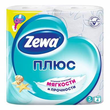 Zewa Плюс туалетная бумага, двухслойная, 4 рулона, голубая