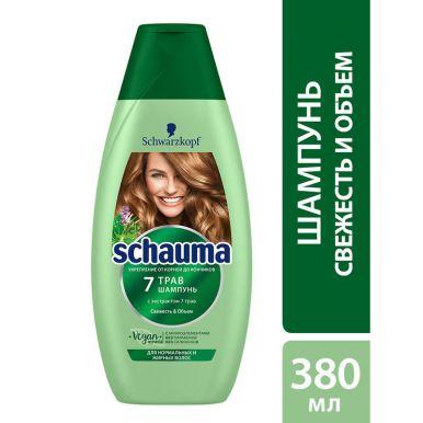 Schauma Шампунь 7 Трав, для нормальных и жирных волос, свежесть и объём, 380 мл