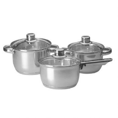 Набор посуды из нержавеющей стали Vita со стеклянной крышкой (ковш 1.6Л, кастрюли 1.8Л, 2.6Л)