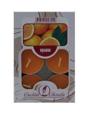 Набор чайных свечей ароматизированных, 6 шт, Оранжевый, артикул: 001807