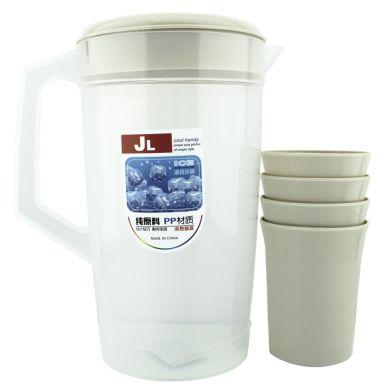 Набор посуды 5пр: кувшин 2л+4 стакана микс арт.MASP8679