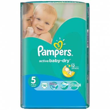 Pampers подгузники Activ Baby 5 Junior, 16 шт (11-18кг) Стандартная упаковка