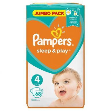 Pampers 4 подгузники Sleep & Play Maxi, 68 шт (7-14кг) Джамбо упаковка