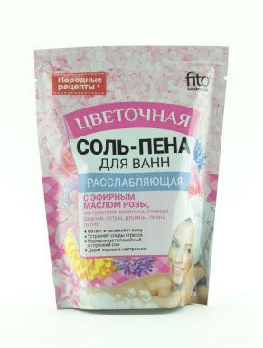 Народные рецепты Соль-пена для ванн расслабляющая цветочная 200г