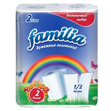 Полотенца Familia РАДУГА 2рул 2сл белые/16