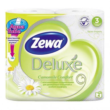 ZEWA DELUXE туалетная бумага 3-х слойная 4шт аромат. ромашки
