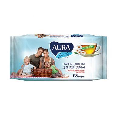 AURA Влажные салфетки освежающие для всей семьи 63шт./12