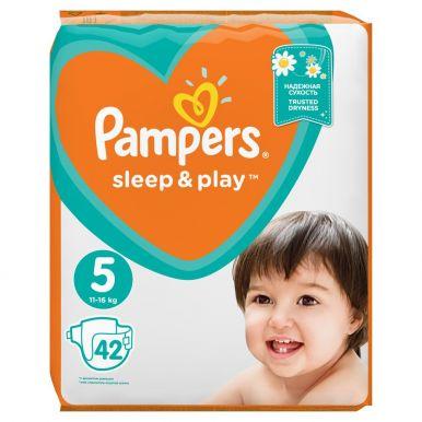 Pampers 5 подгузники Sleep & Play Junior, 42 шт (11-18кг) Экономичная упаковка