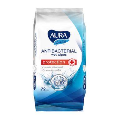 Aura влажные салфетки антибактериальные, 72 шт