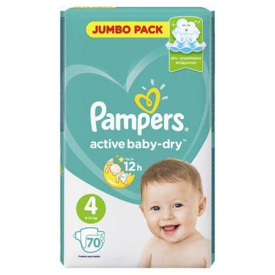 PAMPERS подгузники ACTIV BABY 4 MAXI 70шт (7-14кг) Джамбо упаковка