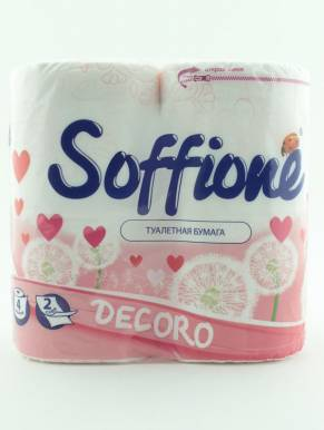 Soffione Decoro Туалетная бумага Pink (Розовая) 2 слоя 4 рулона