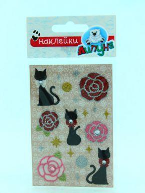 ЛИПУНЯ GS001Блестящие наклейки розы и кошки