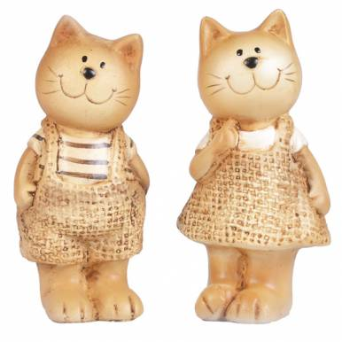 Набор фигурок декоративных Кот и кошка 11х4.5х3.7/11х5.5х5см арт.20119-0441