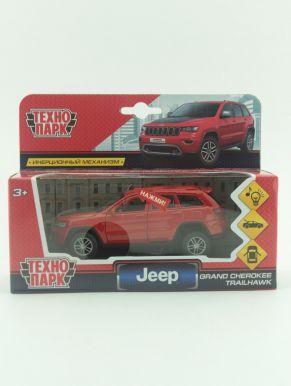 "289682 Машина металл свет-звук ""jeep grand cherokee"" 12см, инерц., красный"