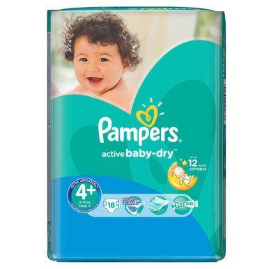 PAMPERS подгузники Active Baby 4+ MAXI PLUS 18шт (9-16кг) Стандартная упаковка