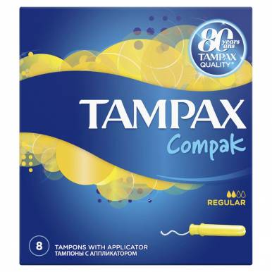TAMPAX тампоны 8шт COMPAK REGULAR TM/111/052/951