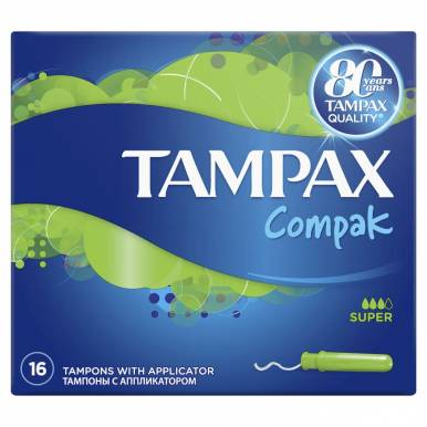 TAMPAX тампоны 16шт COMPAK SUPER  TM 588/117/384