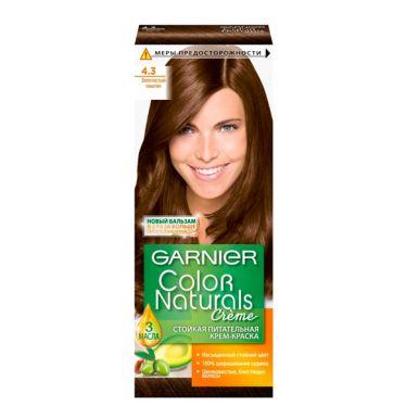 Garnier стойкая питательная крем-краска для волос Color Naturals, тон 4.3, Золотистый каштан, 110 мл