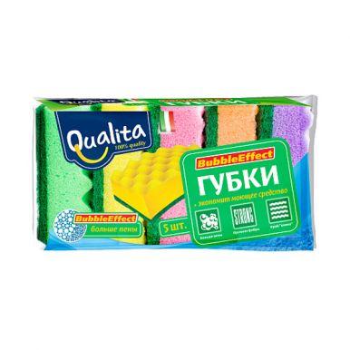 QUALITA Губки кухонные BUBBLE EFFECT 5 шт. /36