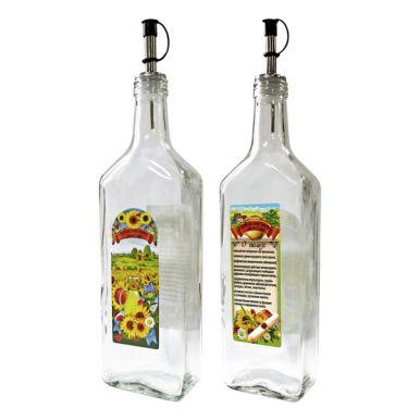 Бутылка с мет. дозатором для подсолнечного масла, 500 мл, стекло 626405