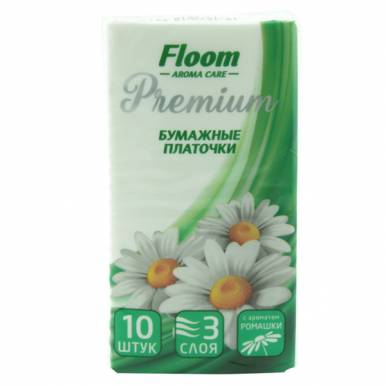 Floom Носовые платочки 3сл ромашка 1шт